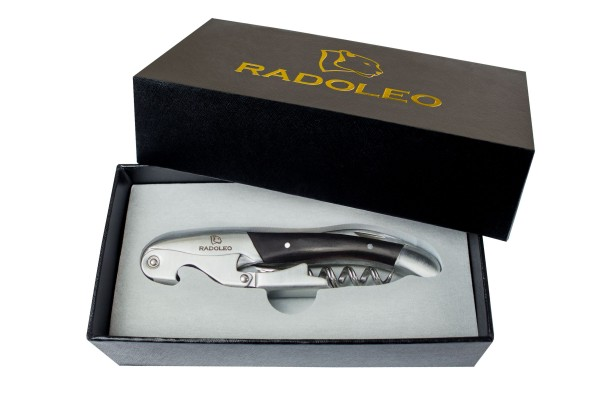 RADOLEO® Kellnermesser EBONY - Korkenzieher & Weinöffner | Profi Sommeliermesser & Flaschenöffner