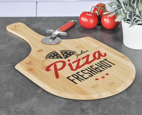 Pizzabrett zum Servieren - für 30cm Pizzen - 53,5x30,5x0,9cm Bambusholz - Pizza Schieber
