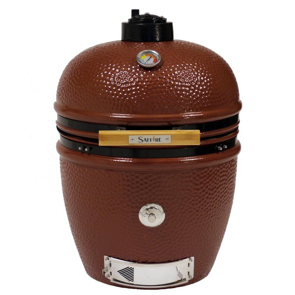 SAFFIRE Kamado BRONZE JASPER RED L - Keramikgrill mit Standfüßen aus Edelstahl