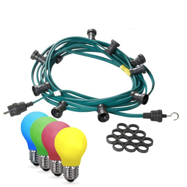 Illu-/Partylichterkette 20m | Außenlichterkette | Made in Germany | 20 x bunte LED Tropfenlampe