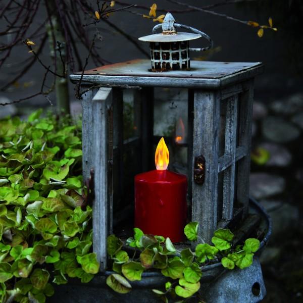 "LED Stumpenkerze ""Paula"" - flackernde LED - H: 11,5cm - Batteriebetrieb - Sensor - Outdoor - rot"