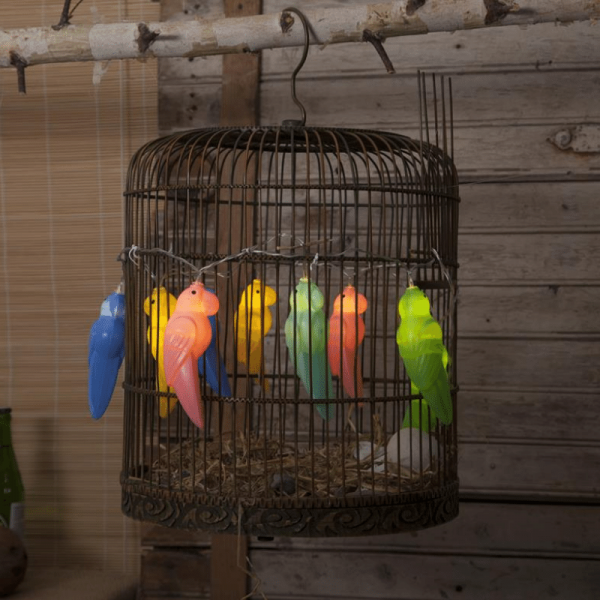 "LED Lichterkette ""Birdy"" - 10 bunte Papageien - warmweiße LED - L: 1,35m - Batterie - Timer"