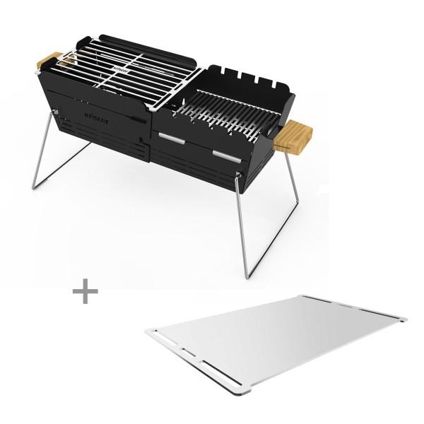 KNISTER Plancha-Set - ORIGINAL Grill + Plancha Platte aus Edelstahl