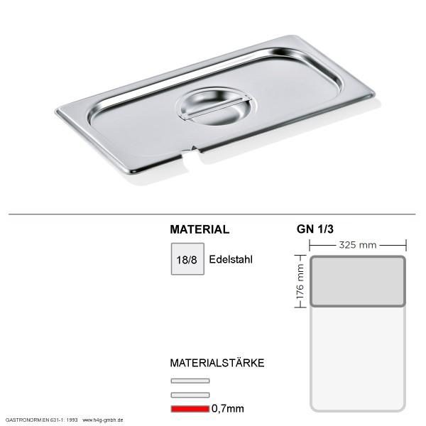 Gastronorm Deckel GN 1/3 - mit Löffelaussparung -  GN90 - 18/8 Edelstahl - 0,7mm