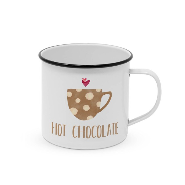 "Metallbecher ""Hot Chocolade"" - 400ml Campingbecher"