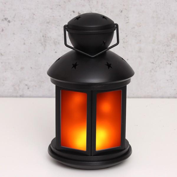 LED Laterne schwarz - Bewegter Flammeneffekt - Batteriebetrieb