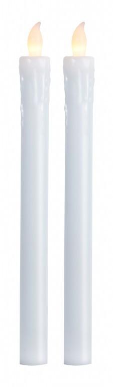 LED-Stabkerze | Echtwachs | Presse | flackernd | ↑25cm | 2er Set | Weiß