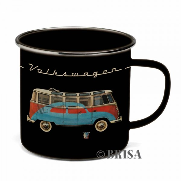 "VW Collection Emaille Tasse ""BLACK BULLI"" - 500ml - mit Edelstahlrand"