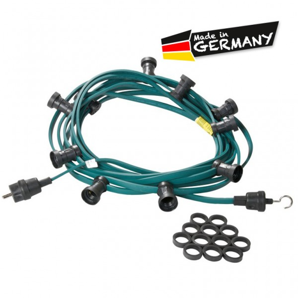 Illu-/Partylichterkette | E27-Fassungen | Made in Germany | ohne Leuchtmittel | 20m | 30x E27-Fassung