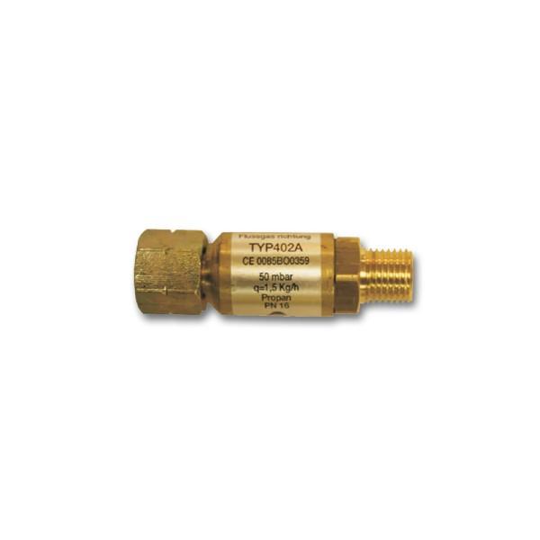 Schlauchbruchsicherung Gas 50mbar, 1,5kg/h - Propangas - TYP402A Sicherheitsventil