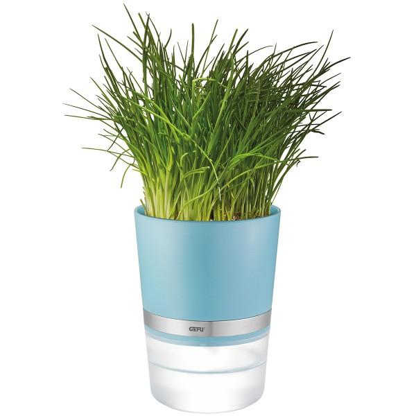 Kräutertopf BOTANICO - Bewässerungssystem mit Nylondocht - H: 18,5cm - azurblau