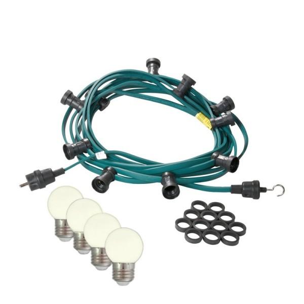 Illu-/Partylichterkette | E27-Fassungen | Made in Germany | mit weißen LED-Lampen | 50m | 50x E27-Fassungen