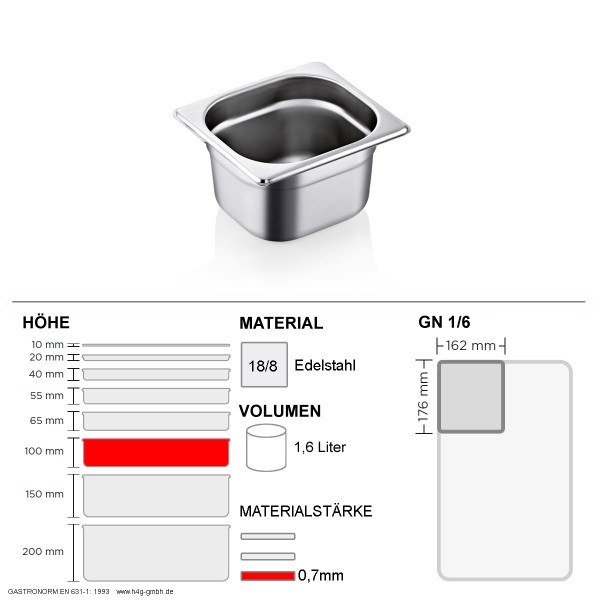 Gastronorm Behälter GN 1/6 - 100mm - GN90 - 18/8 Edelstahl - 0,7mm