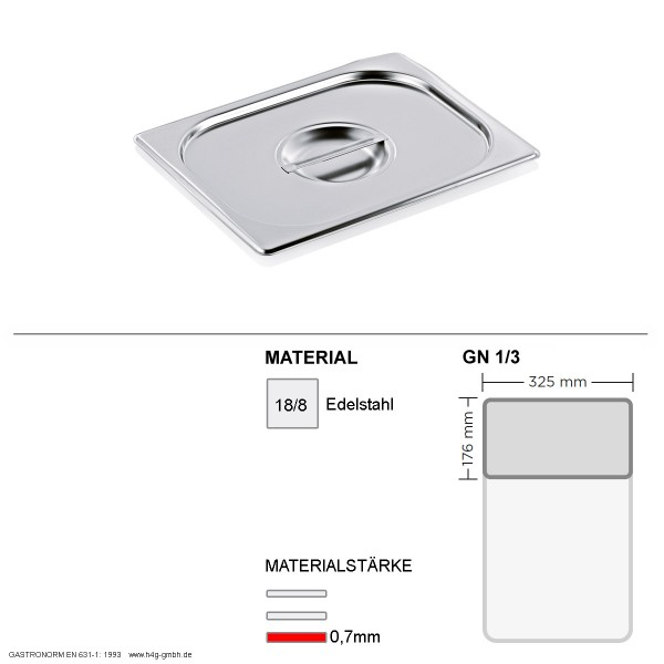 Gastronorm Deckel GN 1/3 - GN90 - 18/8  Edelstahl - 0,7mm