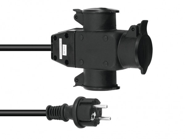 Stromkabel / Verlängerung   3-Fach   Schutzkontakt   Outdoor  3x1,5mm²   1m