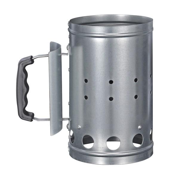 Anzündkamin Metall für Kohle und Briketts - Kohlestarter - D: 16cm, H: 27cm - Kunststoffgriff