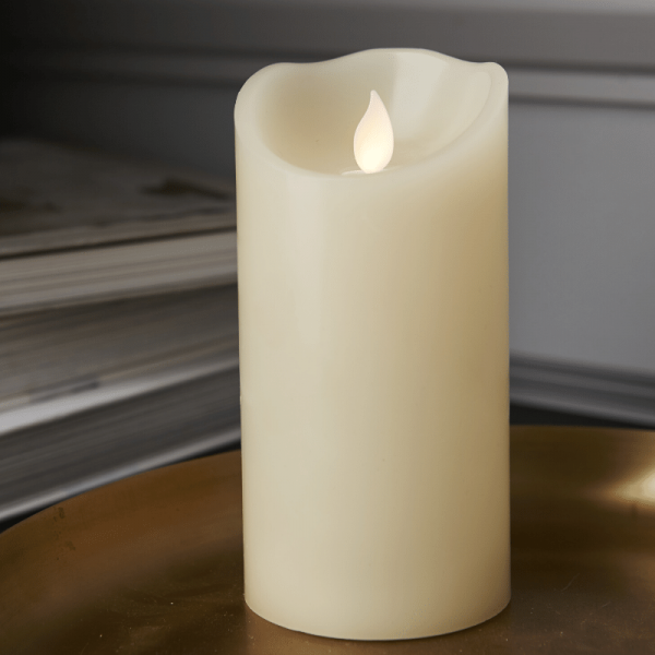 """LED Kerze """"M-Twinkle""""  - Echtwachs - mechanisch bewegte Flamme - Timer - H: 15cm - creme"""