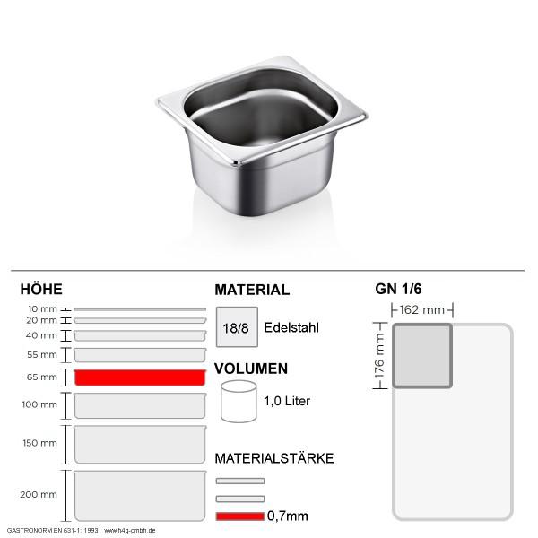 Gastronorm Behälter GN 1/6 - 65mm - GN90 - 18/8 Edelstahl - 0,7mm