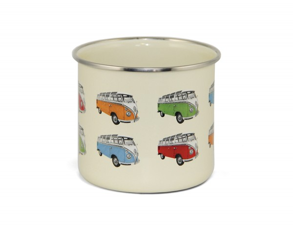 "VW Collection Emaille Tasse ""BULLI T1 PARADE"" - 500ml - mit Edelstahlrand"