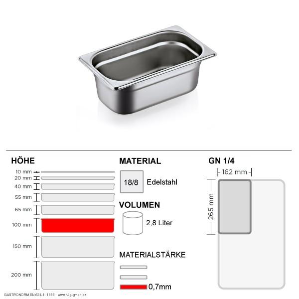 Gastronorm Behälter GN 1/4 - 100mm - GN90 - 18/8 Edelstahl - 0,7mm