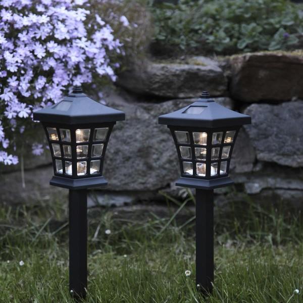 """LED-Solar-Laternenspieß """"Nippon"""" - 2er Set - schwarz - H: 33cm - warmweiße LED - Dämmerungssensor"""