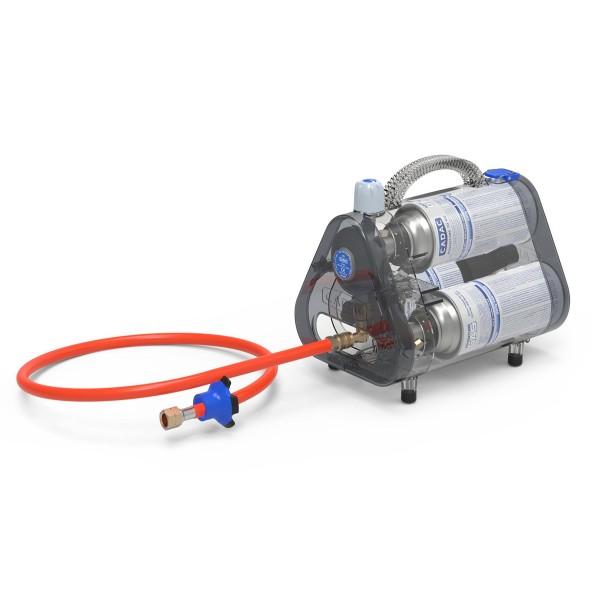 CADAC TRIO POWER PAK 30 - Kombibox für 3 Gaskartuschen - 30mbar - inkl. 85cm Schlauch