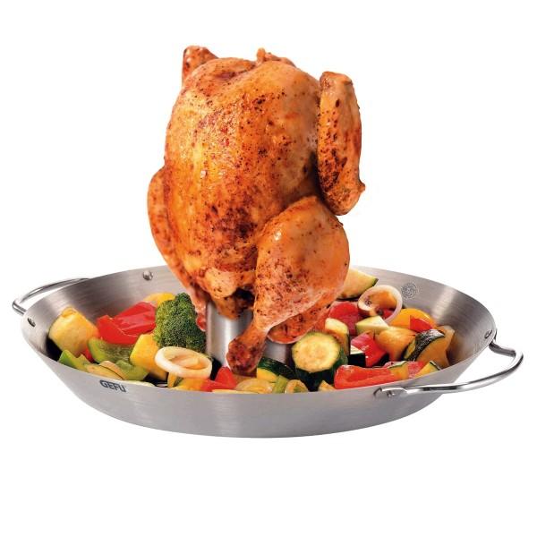 Hähnchengriller / Gemüse-WOK BBQ - Edelstahl - mit Aromaaufsatz