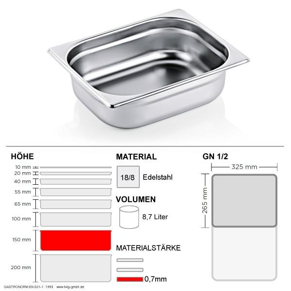 Gastronorm Behälter GN 1/2 - 150mm - GN90 - 18/8 Edelstahl - 0,7mm