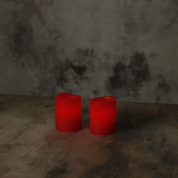 "LED Kerzenset ""Wave"" - Echtwachs - flackernde LED - Timer - H:6cm, D:5cm - 2er Set - rot"