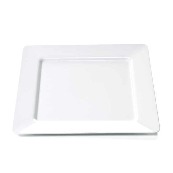 Campingteller SUMMER - Melamin - quadratisch 28 x 28cm-  flach - weiß