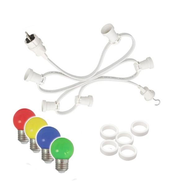 Illu-/Partylichterkette 50m   Außenlichterkette weiß   Made in Germany   50 x bunte LED Tropfenlampe