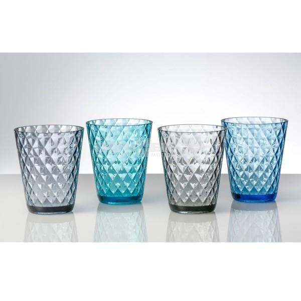 Trinkgläser DIAMANT - 4er Set - 2 x grau, 2 x blau - bruchfestes Polycarbonat
