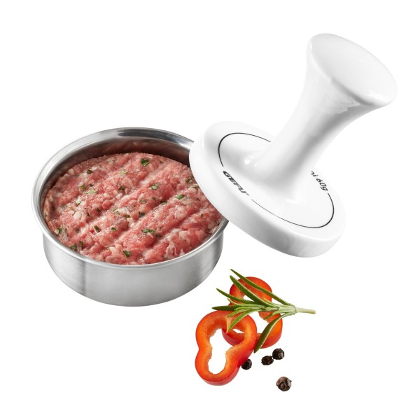 Party Burgerpresse - für 60g Mini Burger - Edelstahl/Porzellan - D: 8cm