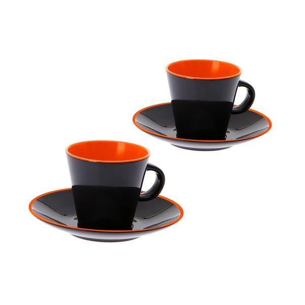 """GIMEX GreyLine """"grau-orange"""" - Espresso Set 2 Personen - bruchfestes Melamin Campinggeschirr"""