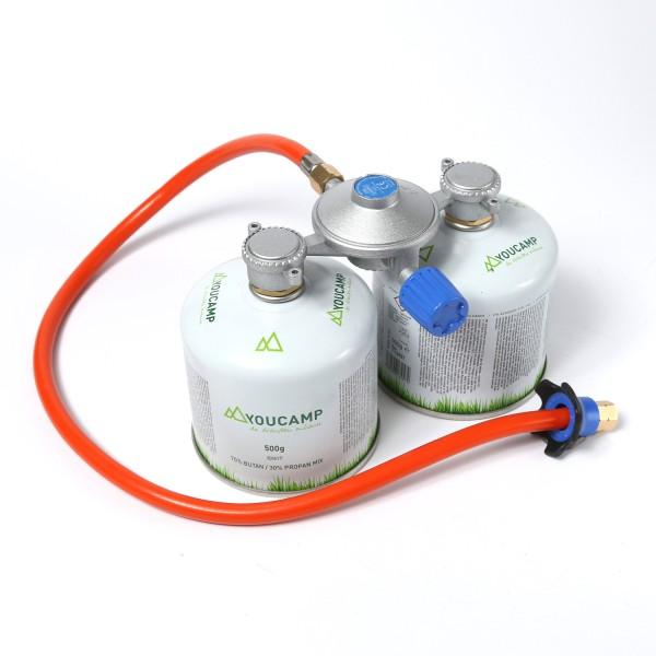 CADAC Dual-Power-Pak KOMPLETTSET - Adapter inkl. 2 Gaskartuschen - 50mbar - inkl. 85cm Schlauch