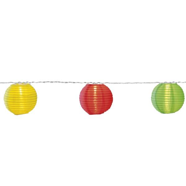 "LED Lichterkette ""Festival"" - 10 bunte Lampions mit warmweißen LED - 4,5m - inkl Trafo, 10m Kabel"