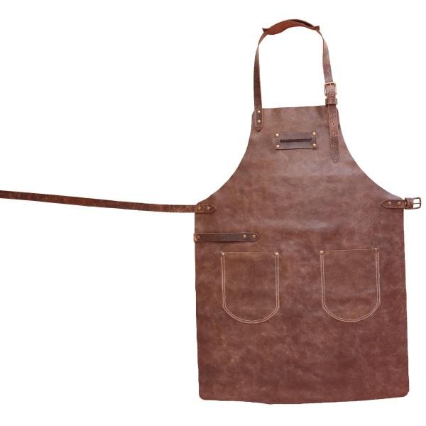 FEUERMEISTER Lederschürze in Antikleder Farbe Cognac mit 2 Taschen Größe 1