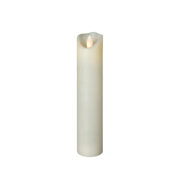 LED Wachskerze SHINE schmal | elfenbein | gefrostet | D: 5cm H: 22,5cm | fernbedienbar | Timer