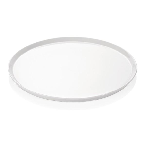 Pizzateller 36cm flach - weißes Porzellan - spülmaschinenfest