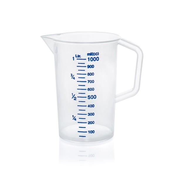 Messbecher - Flüssigkeiten bis 1 Liter - 100ml Skala - Kunststoff - mit Schnabel