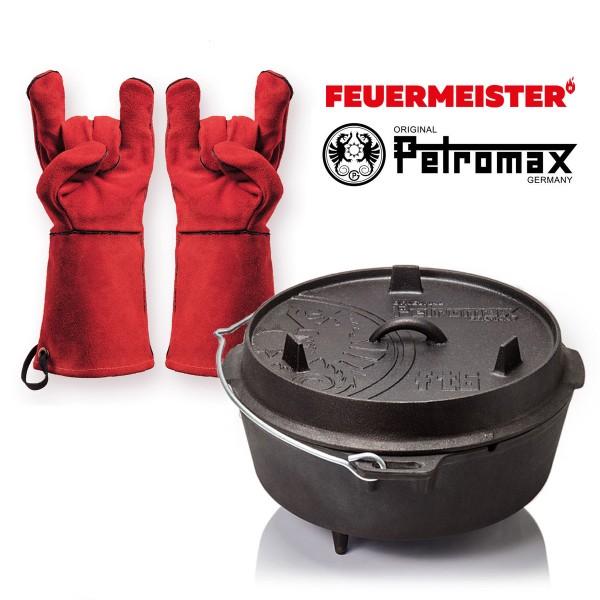Dutch Oven Set - Petromax FT6 + Feuermeister Lederhandschuhe Gr. 10