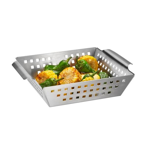 Grillschale BBQ Edelstahl hoch - 25x21,5x5,5cm - Garkorb