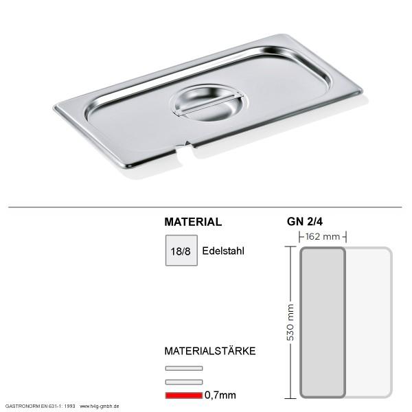 Gastronorm Deckel GN 2/4 - mit Löffelaussparung - GN90 - 18/8 Edelstahl - 0,7mm