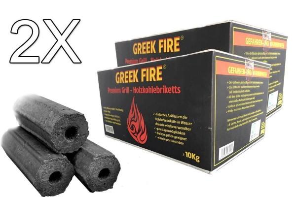 GREEK FIRE Premium Grill Holzkohlebriketts 2 X 10kg - BBQ Briketts