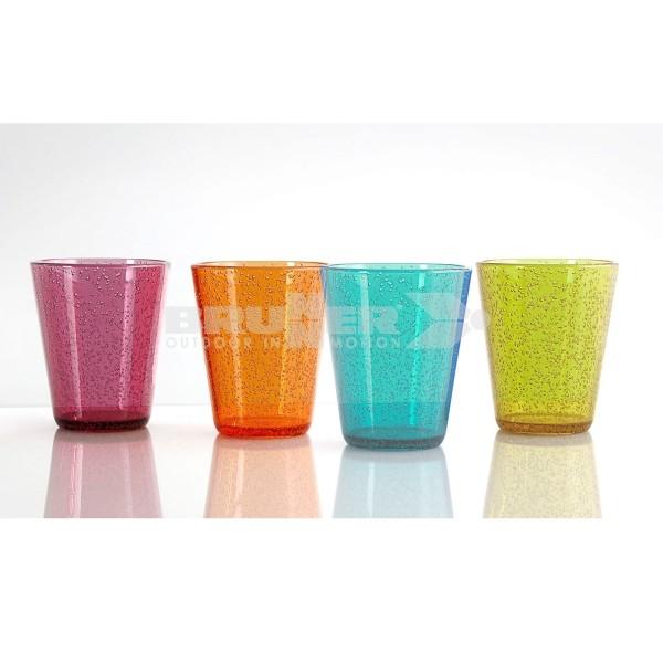 Trinkgläser OXIGEN - 4er Set - 4 Farben - bruchfestes Polycarbonat - 300ml