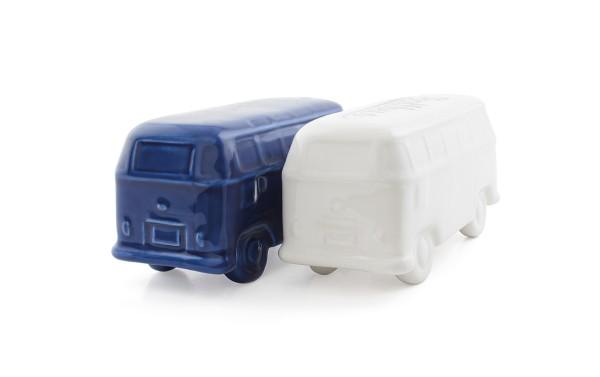 VW Collection Salz & Pfeffer Bus - weiß / blau - in Geschenkbox - Keramik im VW Bulli Format
