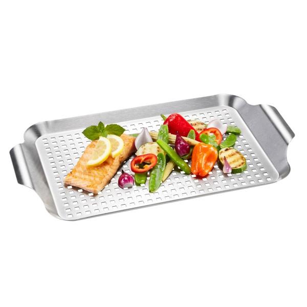 Grillpfanne BBQ Edelstahl flach - 43x25x3cm