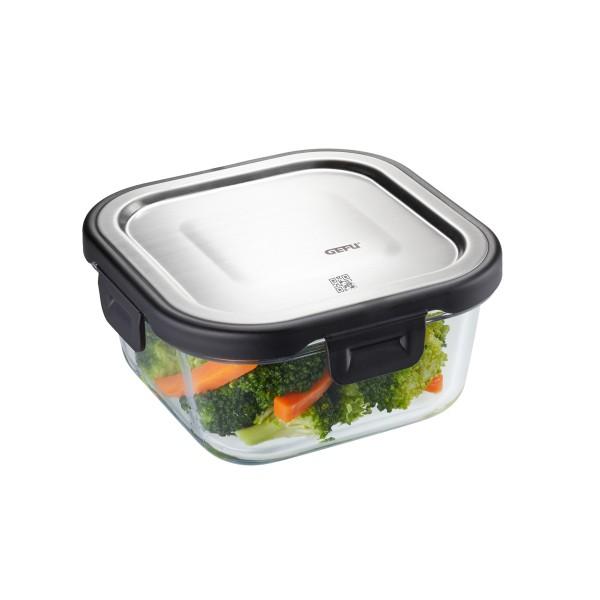 Frischhaltedose MILO - Borosilikatglasbehälter mit Edelstahldeckel - quadratisch - 500 ml