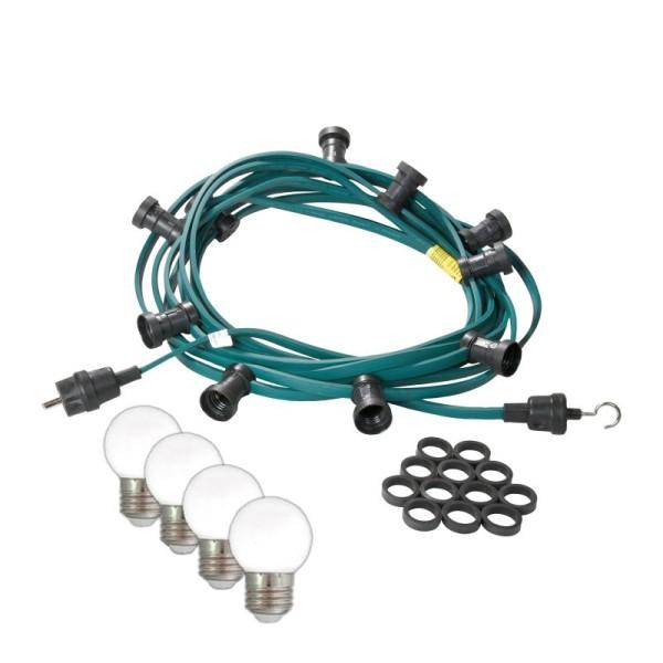 Illu-/Partylichterkette 10m | Außenlichterkette | Made in Germany | 20 kaltweißen LED-Kugellampen
