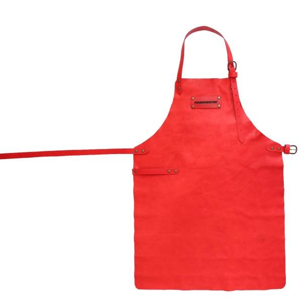 FEUERMEISTER Lederschürze in Antikleder Farbe Rot mit 2 Taschen Größe 2